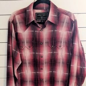 True Grit Outdoor Co. Red Plaid Snap Front Shirt